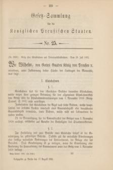Gesetz-Sammlung für die Königlichen Preußischen Staaten. 1892, Nr. 25 (17 August)
