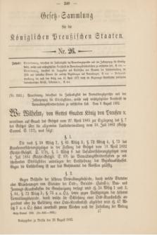 Gesetz-Sammlung für die Königlichen Preußischen Staaten. 1892, Nr. 26 (26 August)