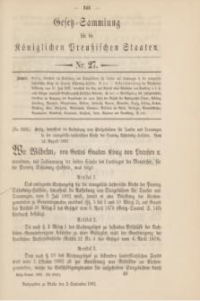 Gesetz-Sammlung für die Königlichen Preußischen Staaten. 1892, Nr. 27 (2 September)