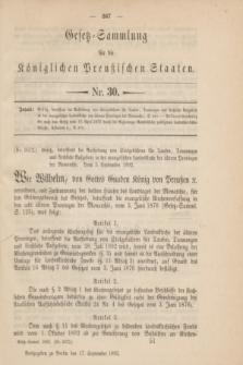 Gesetz-Sammlung für die Königlichen Preußischen Staaten. 1892, Nr. 30 (17 September)