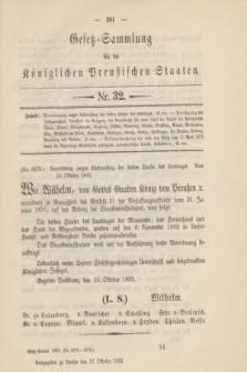 Gesetz-Sammlung für die Königlichen Preußischen Staaten. 1892, Nr. 32 (17 October)