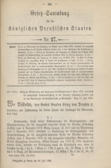Gesetz-Sammlung für die Königlichen Preußischen Staaten. 1895, Nr. 27 (30 Juli)
