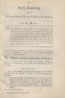 Gesetz-Sammlung für die Königlichen Preußischen Staaten. 1896, Nr. 10 (30 April)