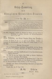 Gesetz-Sammlung für die Königlichen Preußischen Staaten. 1896, Nr. 19 (16 Juli)