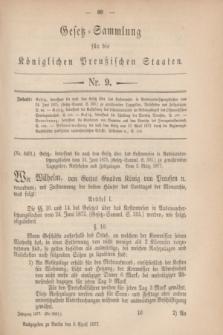 Gesetz-Sammlung für die Königlichen Preußischen Staaten. 1877, Nr. 9 (9 April)