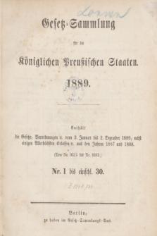 Gesetz-Sammlung für die Königlichen Preußischen Staaten. 1889, Spis treści