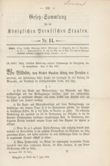 Gesetz-Sammlung für die Königlichen Preußischen Staaten. 1889, Nr. 14 (7 Juni)