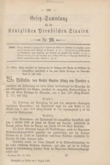Gesetz-Sammlung für die Königlichen Preußischen Staaten. 1889, Nr. 20 (9 August)
