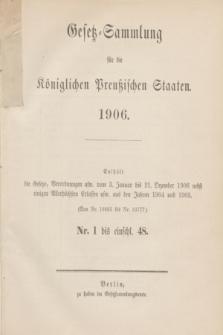 Gesetz-Sammlung für die Königlichen Preußischen Staaten. 1906, Spis treści