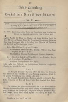 Gesetz-Sammlung für die Königlichen Preußischen Staaten. 1898, Nr. 17 (17 Juni)