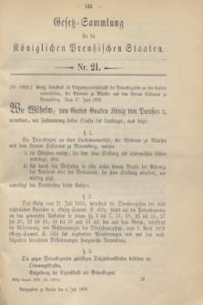 Gesetz-Sammlung für die Königlichen Preußischen Staaten. 1898, Nr. 21 (4 Juli)