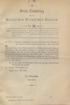 Gesetz-Sammlung für die Königlichen Preußischen Staaten. 1898, Nr. 22 (13 Juli)