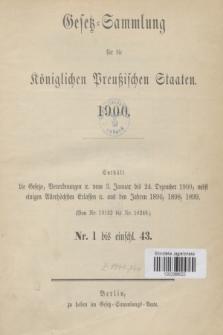 Gesetz-Sammlung für die Königlichen Preußischen Staaten. 1900, Spis treści