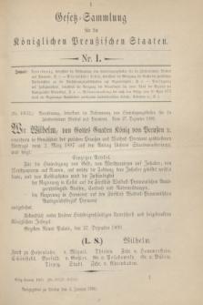 Gesetz-Sammlung für die Königlichen Preußischen Staaten. 1900, Nr. 1 (4 Januar)