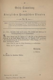 Gesetz-Sammlung für die Königlichen Preußischen Staaten. 1900, Nr. 8 (3 März)