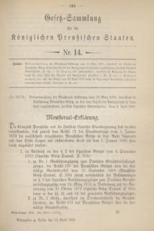 Gesetz-Sammlung für die Königlichen Preußischen Staaten. 1900, Nr. 14 (12 April)