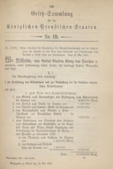 Gesetz-Sammlung für die Königlichen Preußischen Staaten. 1900, Nr. 19 (29 Mai)