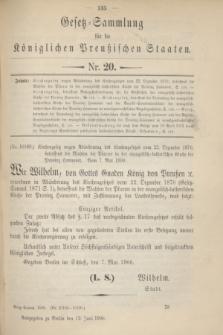 Gesetz-Sammlung für die Königlichen Preußischen Staaten. 1900, Nr. 20 (12 Juni)