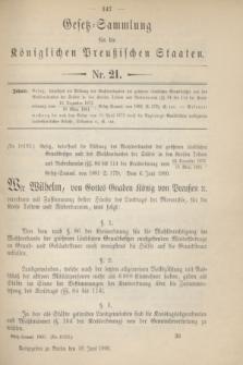 Gesetz-Sammlung für die Königlichen Preußischen Staaten. 1900, Nr. 21 (18 Juni)