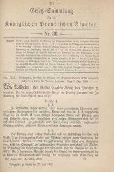 Gesetz-Sammlung für die Königlichen Preußischen Staaten. 1900, Nr. 30 (27 Juli)