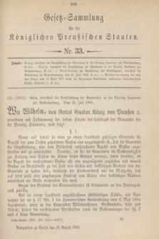 Gesetz-Sammlung für die Königlichen Preußischen Staaten. 1900, Nr. 33 (28 August)