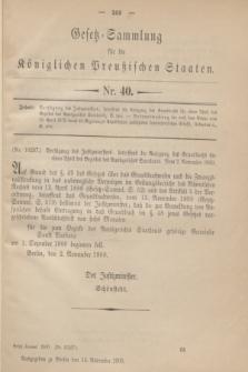 Gesetz-Sammlung für die Königlichen Preußischen Staaten. 1900, Nr. 40 (14 November)