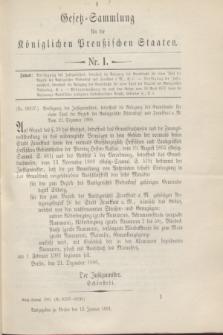 Gesetz-Sammlung für die Königlichen Preußischen Staaten. 1901, Nr. 1 (12 Januar)