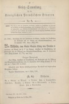 Gesetz-Sammlung für die Königlichen Preußischen Staaten. 1901, Nr. 8 (21 März)