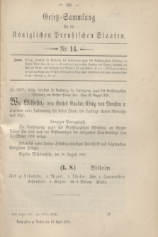 Gesetz-Sammlung für die Königlichen Preußischen Staaten. 1901, Nr. 14 (10 April)