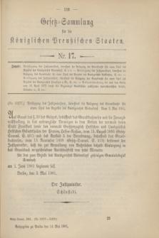 Gesetz-Sammlung für die Königlichen Preußischen Staaten. 1901, Nr. 17 (14 Mai)