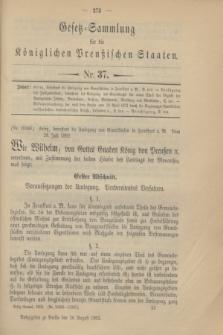 Gesetz-Sammlung für die Königlichen Preußischen Staaten. 1902, Nr. 37 (26 August)