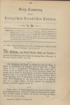 Gesetz-Sammlung für die Königlichen Preußischen Staaten. 1902, Nr. 38 (26 August)