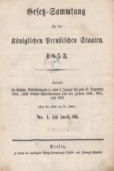 Gesetz-Sammlung für die Königlichen Preußischen Staaten. 1853, Spis treści