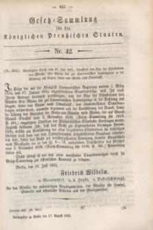 Gesetz-Sammlung für die Königlichen Preußischen Staaten. 1853, Nr. 42 (17 August)
