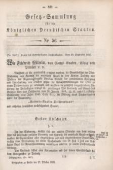 Gesetz-Sammlung für die Königlichen Preußischen Staaten. 1853, Nr. 56 (27 Oktober)