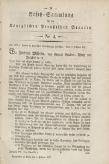 Gesetz-Sammlung für die Königlichen Preußischen Staaten. 1847, Nr. 4 (3 Februar)