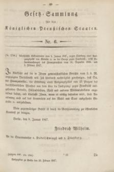Gesetz-Sammlung für die Königlichen Preußischen Staaten. 1847, Nr. 6 (10 Februar)