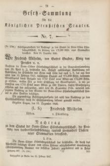 Gesetz-Sammlung für die Königlichen Preußischen Staaten. 1847, Nr. 7 (15 Februar)