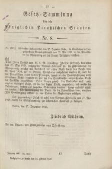 Gesetz-Sammlung für die Königlichen Preußischen Staaten. 1847, Nr. 8 (24 Februar)
