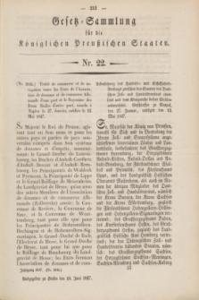 Gesetz-Sammlung für die Königlichen Preußischen Staaten. 1847, Nr. 22 (10 Juni)