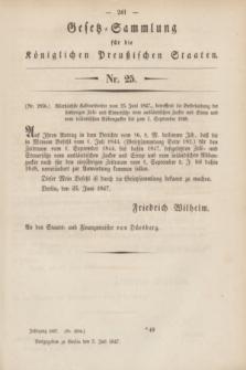 Gesetz-Sammlung für die Königlichen Preußischen Staaten. 1847, Nr. 25 (5 Juli)