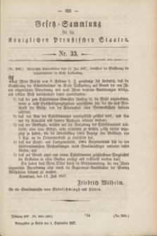 Gesetz-Sammlung für die Königlichen Preußischen Staaten. 1847, Nr. 33 (1 September)