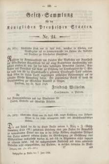 Gesetz-Sammlung für die Königlichen Preußischen Staaten. 1848, Nr. 24 (7 Juni)