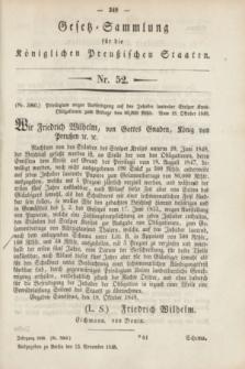 Gesetz-Sammlung für die Königlichen Preußischen Staaten. 1848, Nr. 52 (23 September)