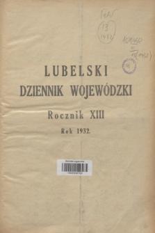 Lubelski Dziennik Wojewódzki. R.13, Skorowidz alfabetyczny do Lubelskiego Dziennika Wojewódzkiego za rok 1932