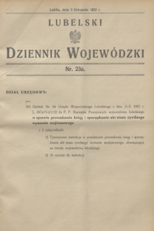 Lubelski Dziennik Wojewódzki. [R.13], nr 23 a (5 listopada 1932)