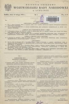 Dziennik Urzędowy Wojewódzkiej Rady Narodowej w Lublinie. 1978, nr 1 (15 lutego)