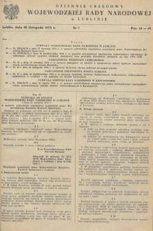 Dziennik Urzędowy Wojewódzkiej Rady Narodowej w Lublinie. 1978, nr 7 (30 listopada)