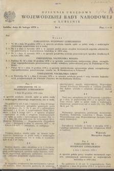 Dziennik Urzędowy Wojewódzkiej Rady Narodowej w Lublinie. 1979, nr 1 (16 lutego)