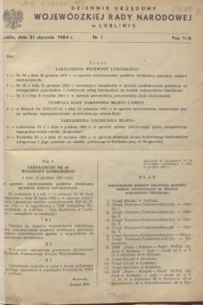 Dziennik Urzędowy Wojewódzkiej Rady Narodowej w Lublinie. 1984, nr 1 (31 stycznia)